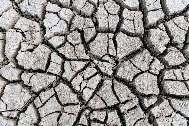 Global warming concept . dry cracks in the land, serious water shortages. drought concept.