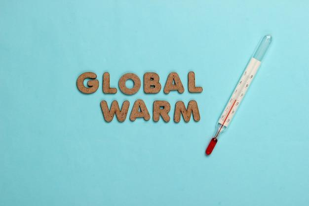 지구 온난화 개념. 파랑에 온도계