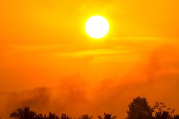 Global warming from the sun and burning, heat wave hot sun