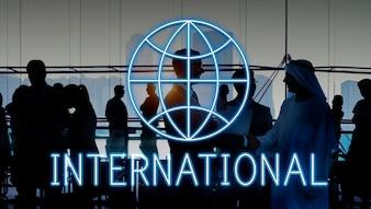 グローバルワールドビジネスマーケティンググラフィックアイコンのコンセプト