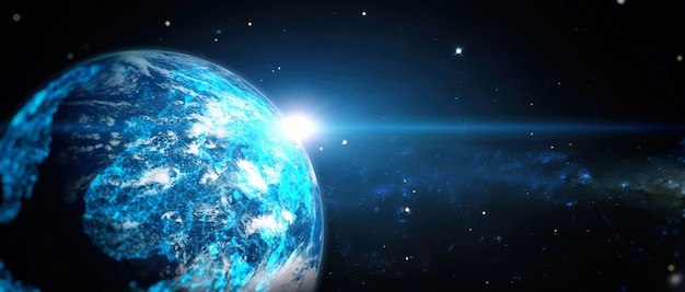 지구상의 글로벌 세계 네트워크 및 통신, 인터넷 비즈니스를 위한 기술. nasa에서 제공한 이 이미지의 요소