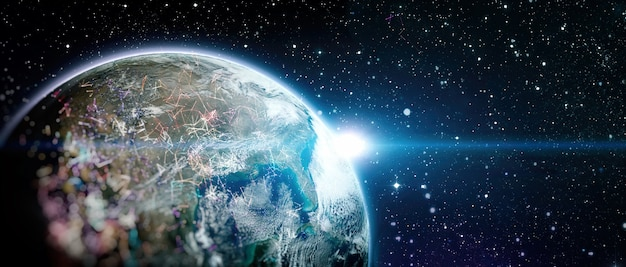 Global world network and telecommunication on earth , technology for internet business.elements of this image furnished by nasa