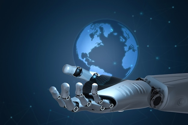 3d 렌더링 로봇 손을 잡고 세계화 개념