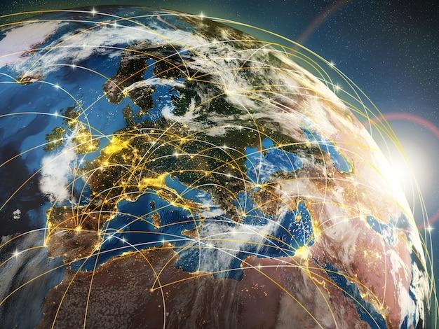 세계화 또는 통신 개념 지구와 네트워크 또는 항공사 3d를 상징하는 빛나는 광선