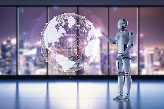 Концепция технологии глобализации с 3d-рендерингом женского робота, работающего над мировым графическим дисплеем