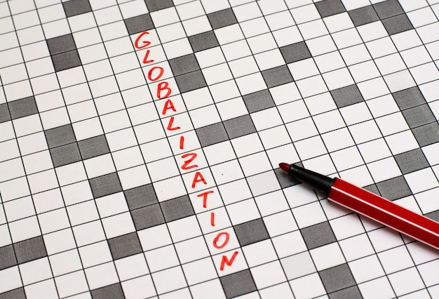 Globalization. text in crossword. red letters