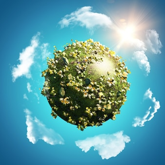 Globo di ranuncoli e margherite su cielo blu con nuvole volteggianti