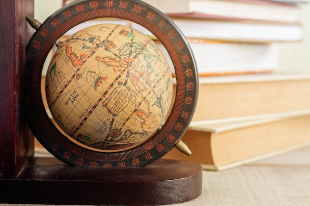 Globe on the desk.