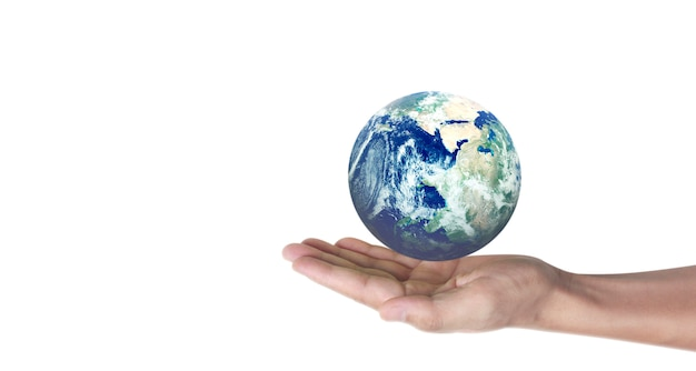 Globe, earth in human hand, holding our planet glowing.