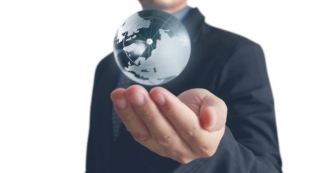 Globe ,earth in human hand.
