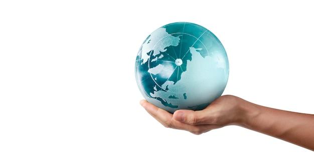 지구, 손에 지구, 빛나는 우리의 행성을 들고. nasa에서 제공 한 지구 이미지