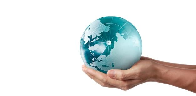 글로브, 인간의 손에 지구, 빛나는 우리 행성을 들고. nasa에서 제공하는 지구 이미지