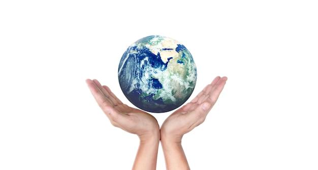 地球、人間の手にある地球、輝く地球を手に