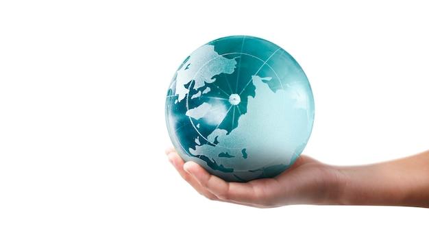 글로브, 인간의 손에 지구, 빛나는 우리 행성을 들고