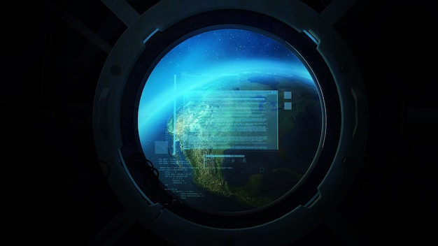 Globe from the porthole of a spaceship