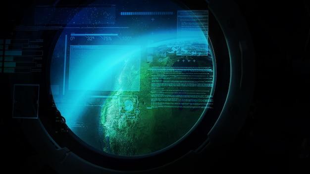 宇宙船の舷窓からの地球