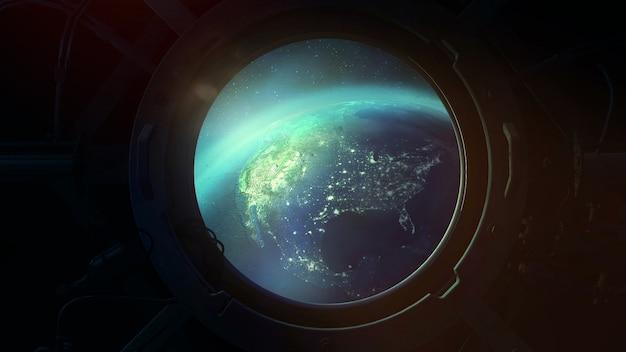 Глобус из иллюминатора космического корабля.