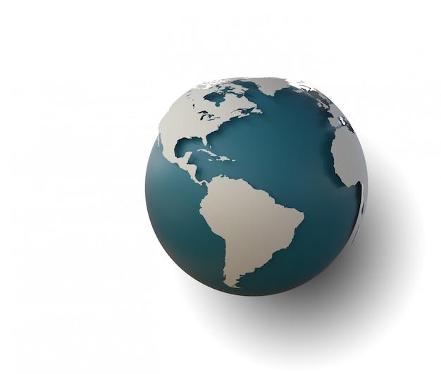 부드러운 그림자와 세계 대륙의 흰색지도 지구 아이콘