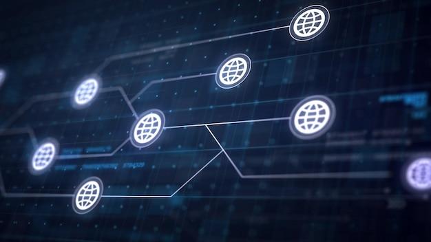 회로 기판의 세계 인터넷 아이콘 라인 연결