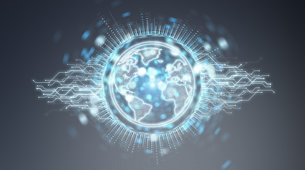 Globe network hologram with america usa map 3d rendering