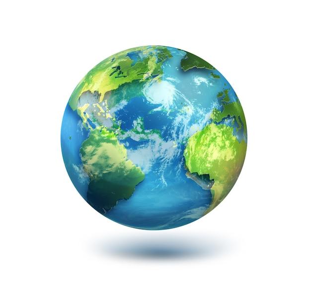 Nasaによって提供されたこの画像の白い背景要素上の地球