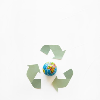 Globe and recycle logo