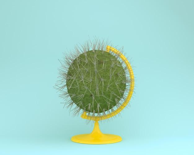 Globe sphere orb cactus concept on pastel blue background. minimal  concept.