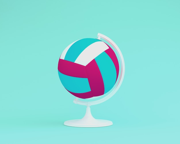 Globe sphere the orb volleyball concept on pastel blue background. minimal idea sports con