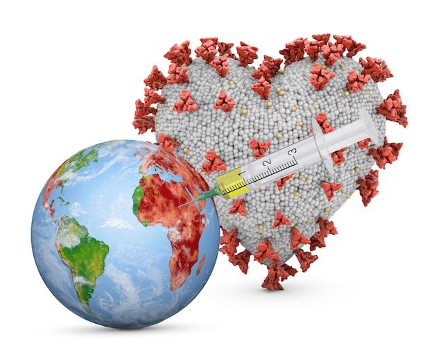 Глобус со шприцем рядом с коронавирусом в форме сердца