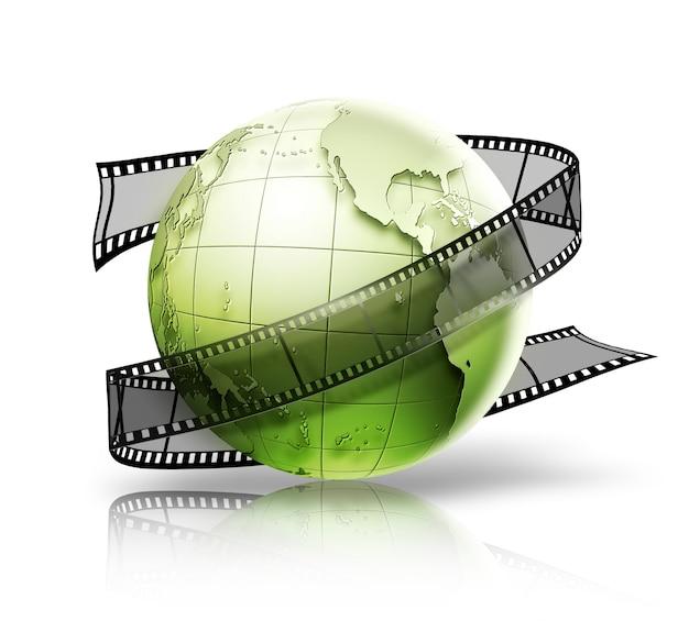 Глобус с кинопленкой на белом фоне