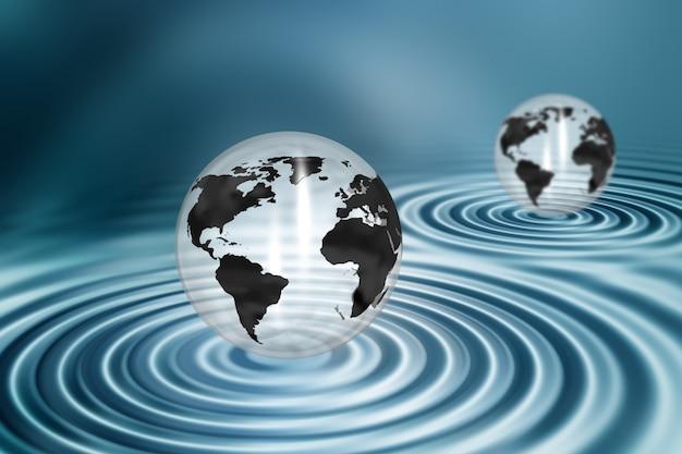 Globi sul fondale di ondulazione di acqua