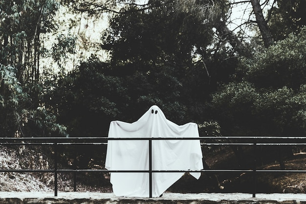 Gloomy ghost standing on overpass with spreading hands in forest