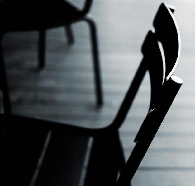 Gloomy metal chair close up concept