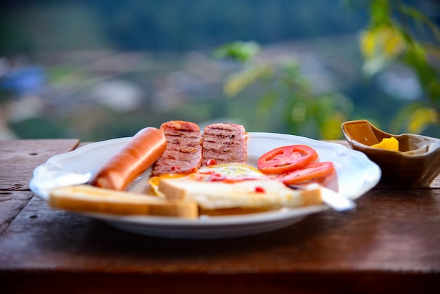 Glorious early morning breakfast at the forest resort in thailand  freshly brewed black co