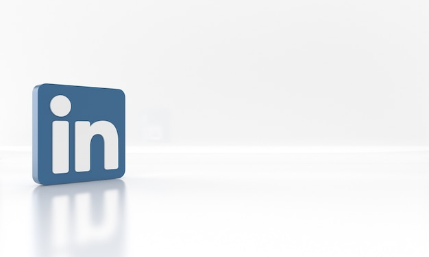 Glossy 3d render design of the linkedin social network media logo or symbol on white background