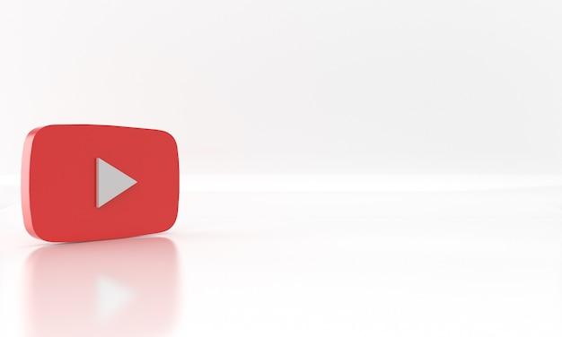 白い背景の上のyoutubeソーシャルネットワークメディアのロゴまたはシンボルの光沢のある3dレンダリングデザイン