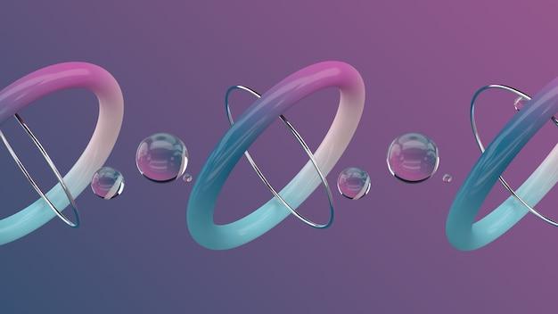 光沢のある金属のリングとガラス玉色のグラデーションの背景