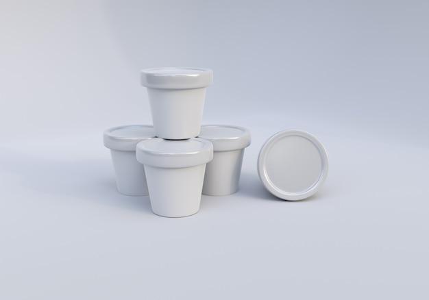 白い背景の上の光沢のあるアイスクリーム瓶包装モックアップ画像