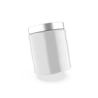 金属製の蓋のモックアップが付いた光沢のある瓶