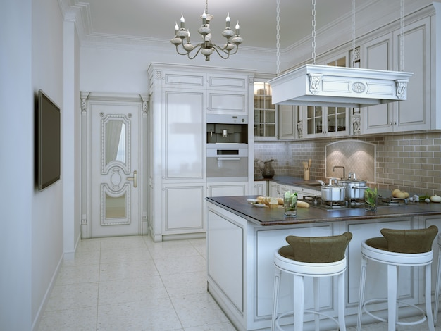 Glossy kitchen art deco style with bar and tv