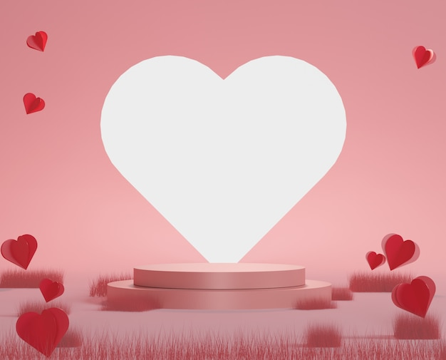 Glossy luxury podium pink gift box, pink balloon and heart on pastel background. happy valentine's day.