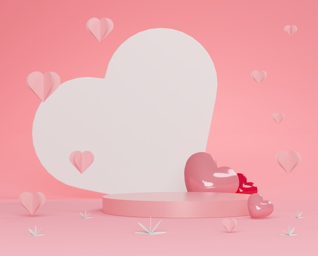 Glossy luxury podium for your design. pink gift box, pink balloon and heart on pastel background. happy valentine's day.
