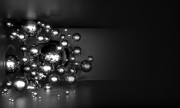 Глянцевые металлические шары летают в воздухе
