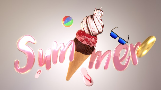 Glossy pink text summer with ice cream cone and bea