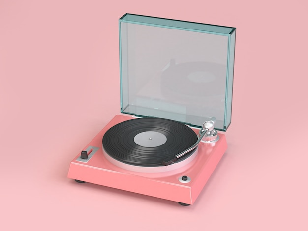 Glossy pink vinyl player minimal soft pink background 3d rendering, music concept