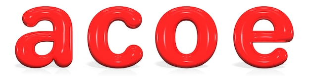 Glossy red paint  letter a, c, o, e lowercase of bubble