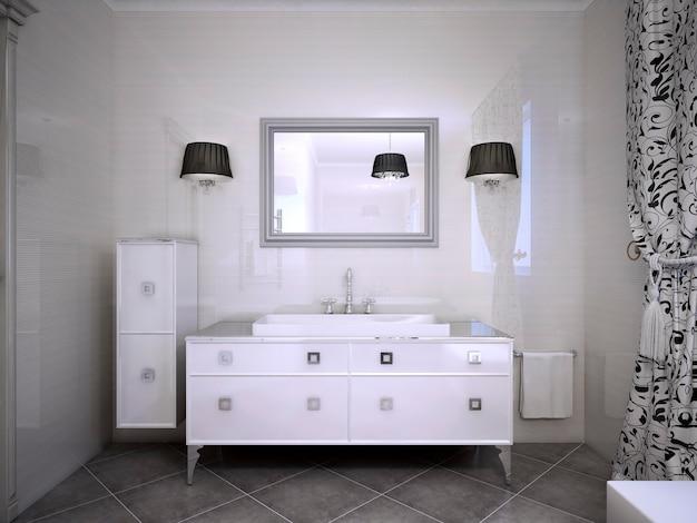 욕실 현대적인 스타일의 광택 흰색 가구. 반짝이는 벽, 양쪽에 sconces가있는 큰 거울. 3d 렌더링