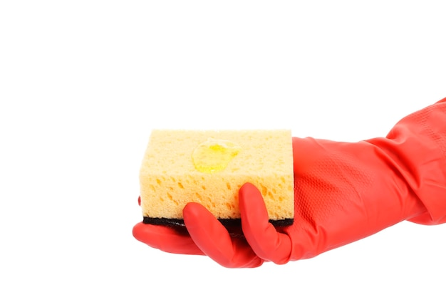흰색 배경에 고립 된 스폰지를 들고 장갑을 낀 손. 청결함과 깔끔함
