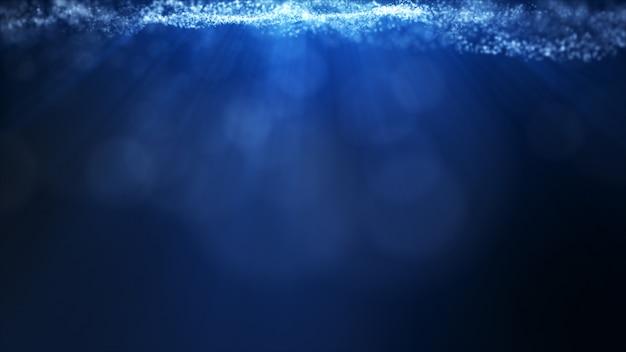 Glow blue dust particale glitter sparks falling down