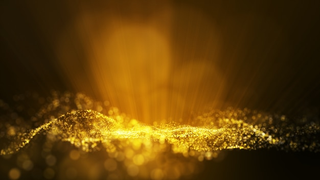 Glow golden dust particale glitter sparks abstract background for celebration